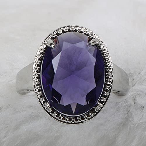 DJMJHG 925 joyería Fina de Plata Anillo de Piedras Preciosas de Moda para Mujer Ovalado Amatista circón Accesorio de Banquete Femenino Regalo 6 púrpura