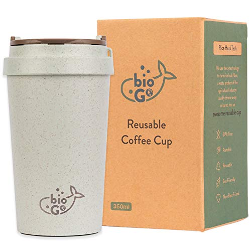 bioGo Cup | Rice Husk Fibre | BPA-Free, Double Wall Insulation Reusable Coffee Cups | On-The-Go Travel Mug | Screw Tight Lid | Textured Grip | Ultra Lightweight |(350ml, Pastel Grey)