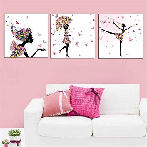 LIXB Wall Art Decor Home Room 3 Piezas Paraguas Mariposa y Bailarina Cuadro en Lienzo Póster Modular Impresiones en HD Pintura, 35x50cmx3, Sin Marco
