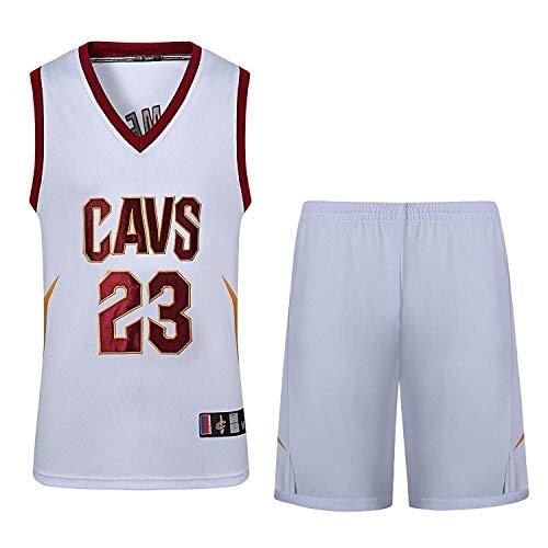 ASSD Herren- und Unisex-Basketball-T-Shirt - Sommer Basketball-Trikot NBA Cavs # 23 James Fan Edition Jersey - klassischer Stickerei Ärmel Top und Shorts (Color : White, Size : 3XL)