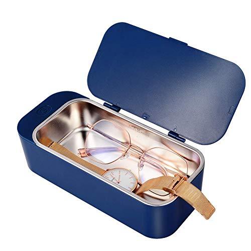 WYXR Limpiador Ultrasónico Profesional, Mini Limpiador ultrasónico Multifuncional para Uso en el hogar, Adecuado para joyería, Relojes, maquinillas de Afeitar,Azul