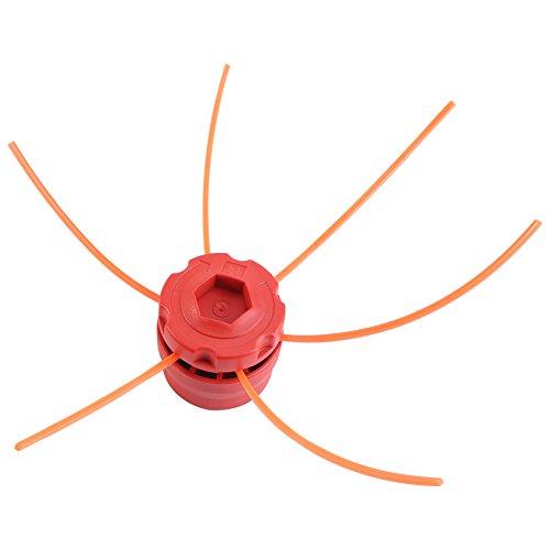 Garsent Cabeza de desbrozadora Universal, Aluminio Hilos Cabeza cortabordes Cabeza Doble Hilo Bobina Cabeza Hilo Nylon para desbrozadora, Rojo