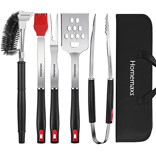 Homemaxs BBQ Grill Accessories, 16-inch BBQ Grilling Tools Set for Men Stainless Steel Grilling Kit with Cleaning Brush, 3-in-1 Spatula Tongs for Smoker, Camping, Ideal Camping Gift for Father's Day