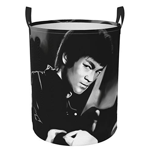 Bruce Lee - Cesta de lavandería redonda impermeable con asa, de pie y plegable multifuncional (dos tamaños) S