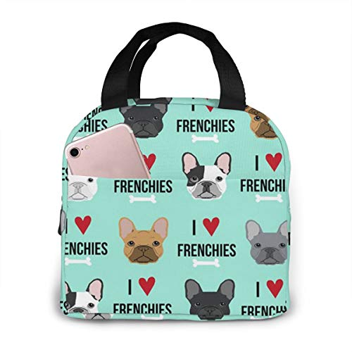 antfeagor Portable Lunch Tote Bag Cute Frenchie Dog Fabric Lunch Bag Insulated Cooler Thermal Reusable Bag Lunch Box Handbag Bags for Women/Picnic/Boating/Beach/Fishing/Work