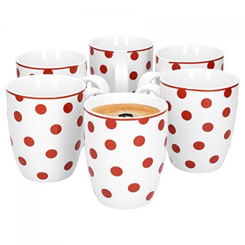 Van Well 6er Set Kaffeebecher Funny | Edler Porzellan-Becher | große Tee-Tasse | 400 ml | weiß mit roten Punkten