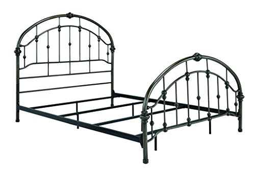 Ashley Furniture Signature Design - Nashburg Metal Bed - Complete Headboard and Footboard with Rails - Queen - Bronze Finish