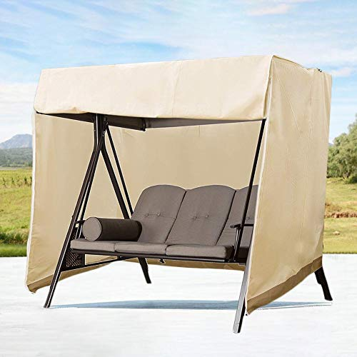 skyfiree Patio Swing Cover Outdoor Porch Swing Cover 3 Triple Seater Hammock Glider Cover 420D Waterproof Patio Swing Chair Cover 87x49x67 Inch UV Block Garden Furniture Covers Beige