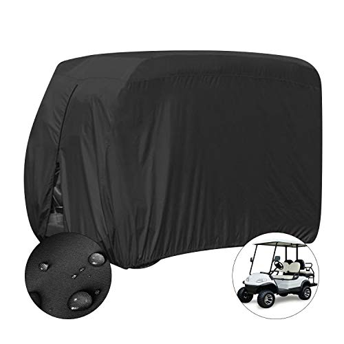 ConPus 4 Passenger Golf Cart Cover Fits For EZGO Club Car and Yamaha, Waterproof with Extra PVC Coating Sunproof Dustproof Black 112' L x 48' W x 66' H (black)