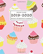 2019-2020: 16-Month Weekly and Monthly Planner/Calendar Sept 2019-Dec 2020 Colorful Cupcakes on Pink Background