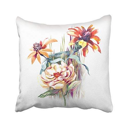 Funda de almohada decorativa para el hogar, 18 x 18 cm, colorida, flores de verano, color blanco, abstracto, pintura floral a mano, botánica, fundas de cojín decorativas, cuadradas, fundas de almohada para sofá, accesorio para el hogar, regalos