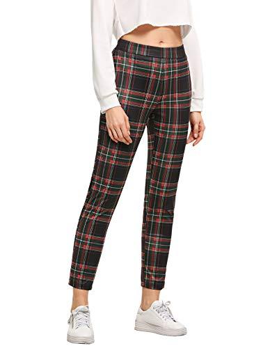 WDIRARA Women's Plaid Print Pants Elastic Waist Soft Printed Fashion Leggings Red M