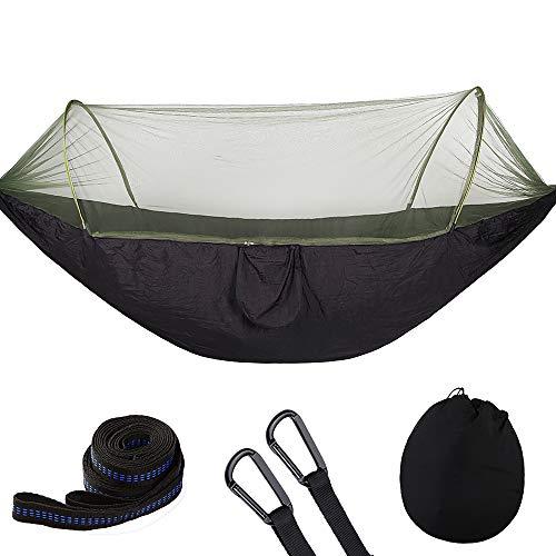 73HA73 Hamaca para Acampar con Mosquitera Emergente Portátil al Aire Libre Paracaídas Columpio Hamaca para Dormir para Mochilero de Picnic de Viaje,Black