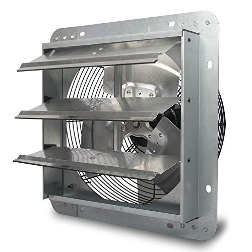 JPOWER 12 Inch Shutter Exhaust Fan Wall-Mounted Attic Ventilation Fan, Upgraded Version, 1800CFM,ETL Safety Listed