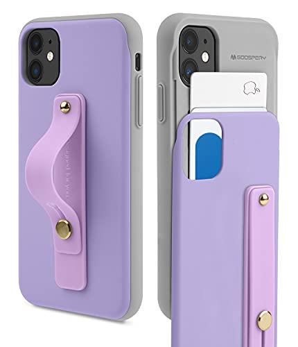Goospery Funda SlideTok Compatible con iPhone 11 con Banda de sujeción para Dedos, Tarjetero, Carcasa de teléfono móvil (Púrpura)