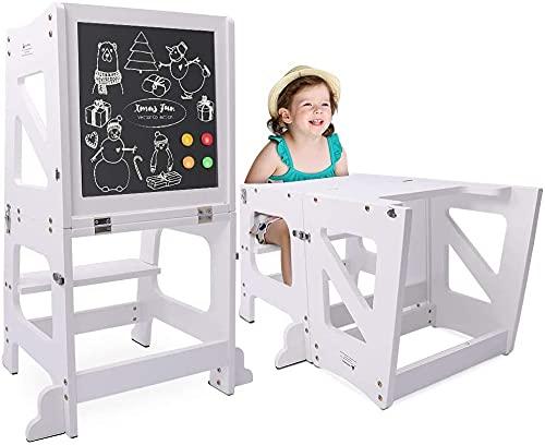 YOLEO Torre Aprendizaje Transformer, Torre Montessori para niños y bebés, Plegable Learning Tower con Pizarra Blanca y Negra magnéticas, Blanco - Madera