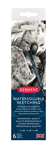 Derwent 0700837 Watersoluble Sketching Pencils, Set of 6, Includes 3 Shades...