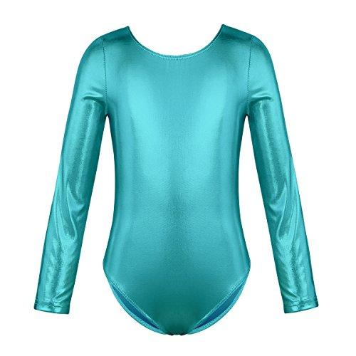 Freebily Maillot Clásico de Danza Ballet Gimnasia Manga Larga para Niña Chica Leotardo Body Mono de Ballet Suave (3-12 Años) Azul 5-6 Años