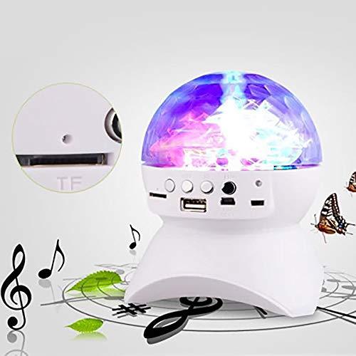OYLP LED-Licht Bluetooth Lautsprecher Drahtlose Kristallkugel Disco Subwoofer-Lautsprecher Unterstützung FM Prom Handy-Lautsprecher Wiederaufladbare Bunte Bühne Kugel-Licht,Weiß