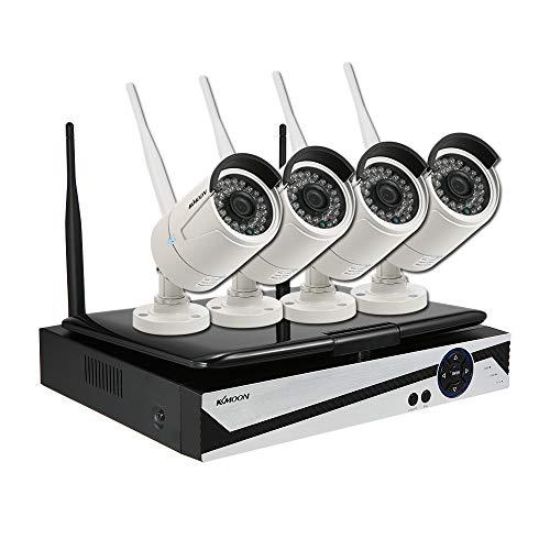 KKmoon NVR CCTV System Set 4 Kanal WiFi drahtloser 10,1 Zoll LCD Bildschirm Monitor + Kugel-IP-Kamera 4pcs HD 720P WiFi outdoor wetterfeste P2P IR Nachtsicht APP Bewegungserkennung