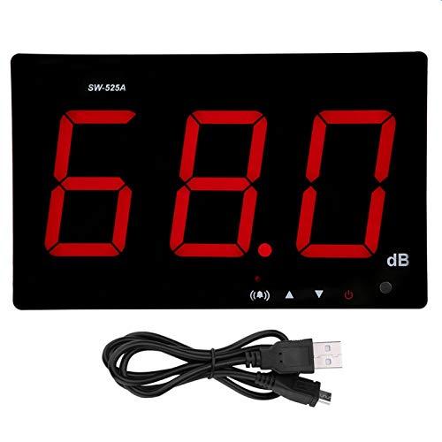 SW-525A Pantalla LCD Medidor de nivel de sonido digital Medidor de decibelios montado en la pared 30-130dB DC 5V 1A Micro USB para medir el ruido