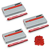 Lamy T10 Red Fountain Pen Ink Cartridges Refills Replacement Spare For All Lamy Fountian Pens (Pack Of 3 - 15...