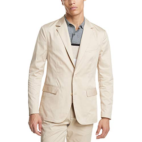 DKNY Men's Twill Tech Unstructured Blazer - Sand, Large