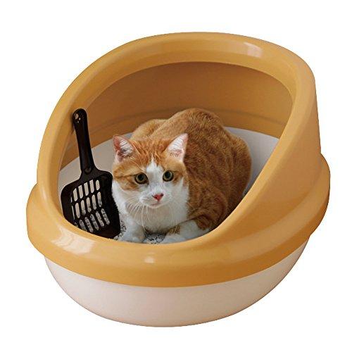 アイリスオーヤマ ネコのトイレ ハーフカバー (スコップ付き) 三毛