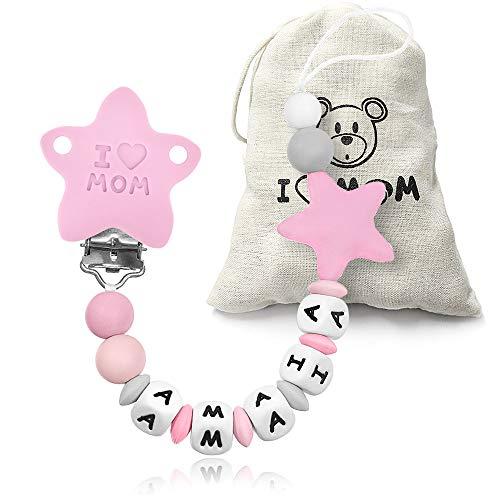 RUBY - Chupetero personalizado para bebe con nombre bola silicona antibacteria con pinza de acero inoxidable. Chuptero Estrella (Rosa)