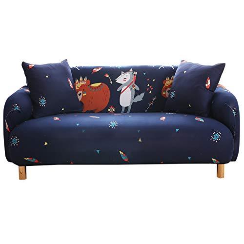 Funda de sofá elástica elástica para sofá o sofá con estampado de pájaros, protector de sofá para mascotas con 2 fundas de almohada (A-24, 1 plaza)
