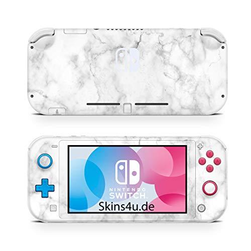 Skins4u Premium Slim Skin Design Aufkleber Schutzfolie Skins für Nintendo Switch Lite Vorder & Rückseite Marmor weiss