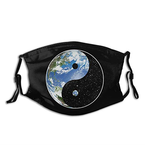 Adjustable Face Mask Earth and Space Yin Yang Symbol Masks Replaceable Filter Balaclavas Black