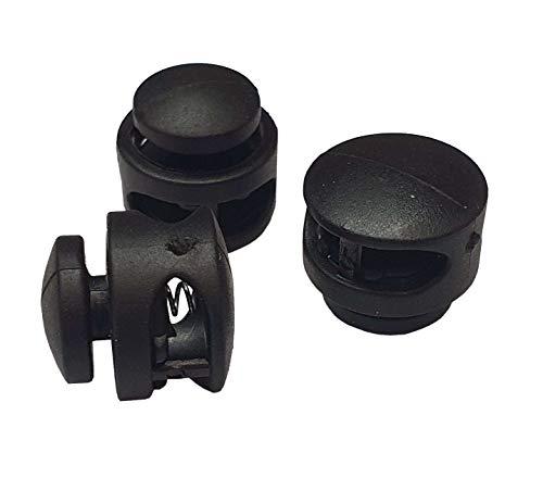 Lot de 10 bloqueurs de cordon à double trou, noir, idéal pour cordons de 3/4/5 mm, butée pour cordes, vestes, élastiques (modèle 8)