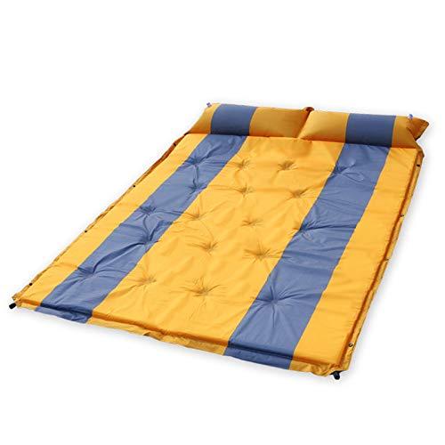 PrittUHU Estera de Camping Inflable al Aire Libre con Almohada Matada de la Tienda de la Tienda autoinflante Unido a la Almohadilla de Dormir Doble 2 Persona Cojín colchón (Color : Orange with Grey)