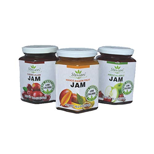 Stevien Jam No Added Sugar - 3 Jars - Keto and Diabetic Friendly, Vegan, Gluten Free, Made with Real Fruit - Sweet Mango Passion Fruit , Cherry Plum , and Hibiscus Apple Sweetened with Organic Stevia
