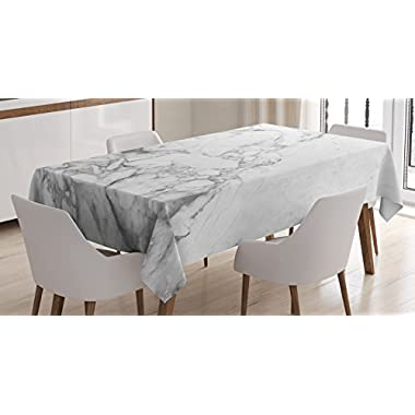 Apartment Decor Tablecloth by Ambesonne, Old Fashion Grungy Cultured Marbling Motif Formation Lines Artsy Design, Dining Room Kitchen Rectangular Table Cover, 60W X 84L Inches, White Grey