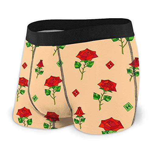 Rojo Abstracto Origami Rose Men 's Low Rise Bóxer básico Breve Confort Flex Cintura Ropa Interior Talla XL
