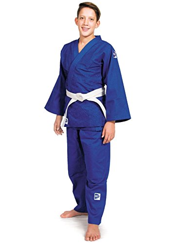 GREEN HILL JUDOGI CLUB 450 g/m2 JUDO GI UNIFORME BLANCO AZUL KIMONO TRAJE JU JITSU (Azul, 180 Large Fit)