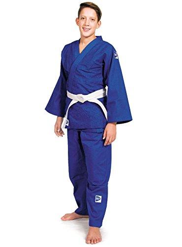 GREEN HILL JUDOGI CLUB 450 g/m2 JUDO GI UNIFORME BLANCO AZUL KIMONO TRAJE JU JITSU (Azul, 170 Slim Fit)
