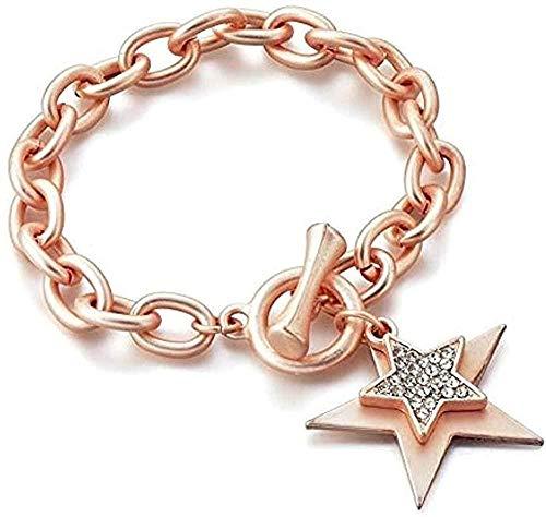 WYDSFWL Collar Pulseras en Forma de Estrella Charm Pulseras de puño de Acero Inoxidable U0026 Diseños de Brazalete para Mujer Collar de Pulsera de Estrella Dorada