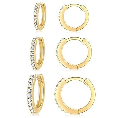 Silver Hoop Earrings for Women, 3 Pairs Small Sterling Silver Huggie Earrings   Tiny Cubic Zirconia Cartilage Cuff Earrings Hoop Piercing Jewellery for Girls Men Teens (8mm/10mm/12mm)