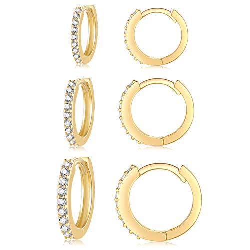 Silver Hoop Earrings for Women, 3 Pairs Small Sterling Silver Huggie Earrings | Tiny Cubic Zirconia Cartilage Cuff Earrings Hoop Gold Piercing Jewellery for Girls Men Teens (8mm/10mm/12mm)