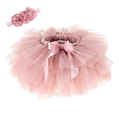 Baby Girls Tutu Skirt Headband Set Newborn Toddler Ruffle Tulle Diaper Covers 6-24 Months (Bean Sand)
