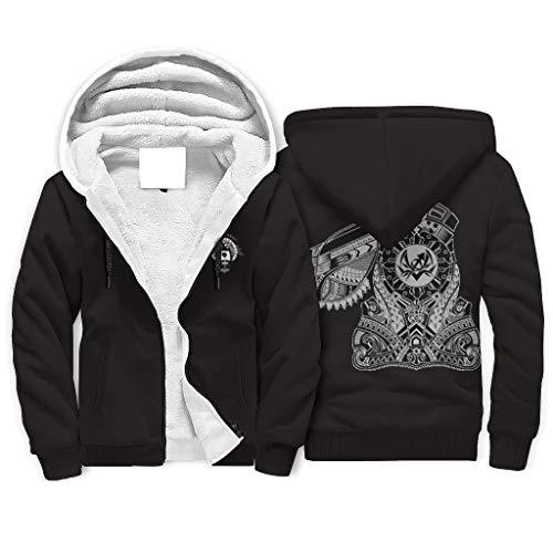 LL·Shawn Hombres Viking Fleece Hoodie Running - Cordón Sombrero Chaqueta Blanco S
