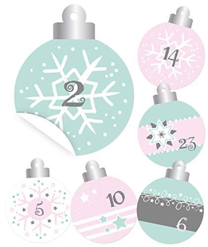 KuschelICH 24 Adventskalender-Zahlen Weihnachtskugel Aufkleber Etiketten Sticker Christbaumkugel (Mint-Rosé)