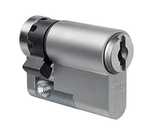 EVVA MCS Halbzylinder mit 3 Schlüssel + Sicherungskarte, Hochsicherheits-Zylinderschloss, Schließanlage, Magnet-Code System, Länge A:32 mm