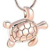 Sea Turtle Cremation Jewelry for Ashes Necklace Stainless Steel Keepsake Memorial Lockets Urn Pendant for Pet/Human (Rose Gold)