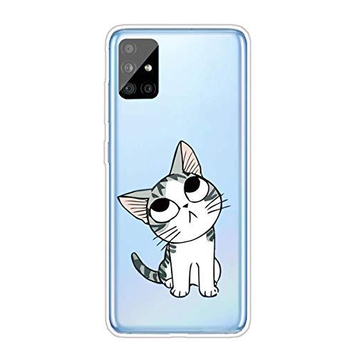 Nadoli Transparent Silikon Hülle für Samsung Galaxy A71,Durchsichtig Klar Lustig Kreativ Leicht Dünn Weiche Stoßfest Handyhülle Schutzhülle mit Karikatur Katze Muster