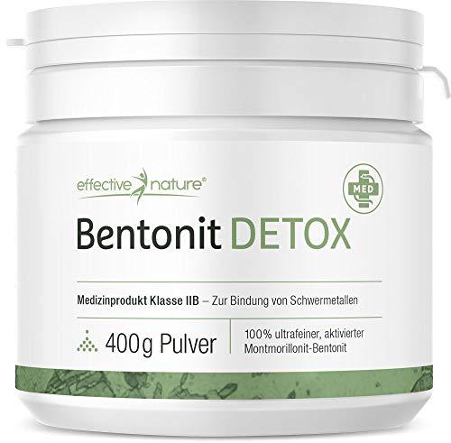 effective nature Bentonit Detox, Entschlackung & Detoxing, ideal zur Darmsanierung & Darmreinigung, zertifiziertes Medizinprodukt zur Bindung von Schwermetallen im Körper, 400 g Pulver