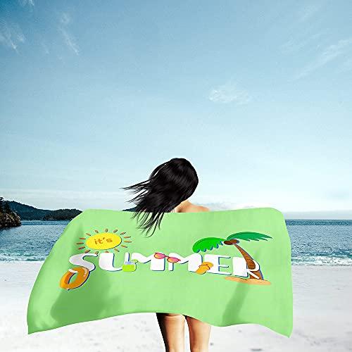 Toalla de Playa Grande Rectángulo, Chickwin Microfibra Absorbente Compacto Resistente Manta de Verano Toalla de Deportes para Piscina Playa Viaje Camping (Sol,150x180cm)